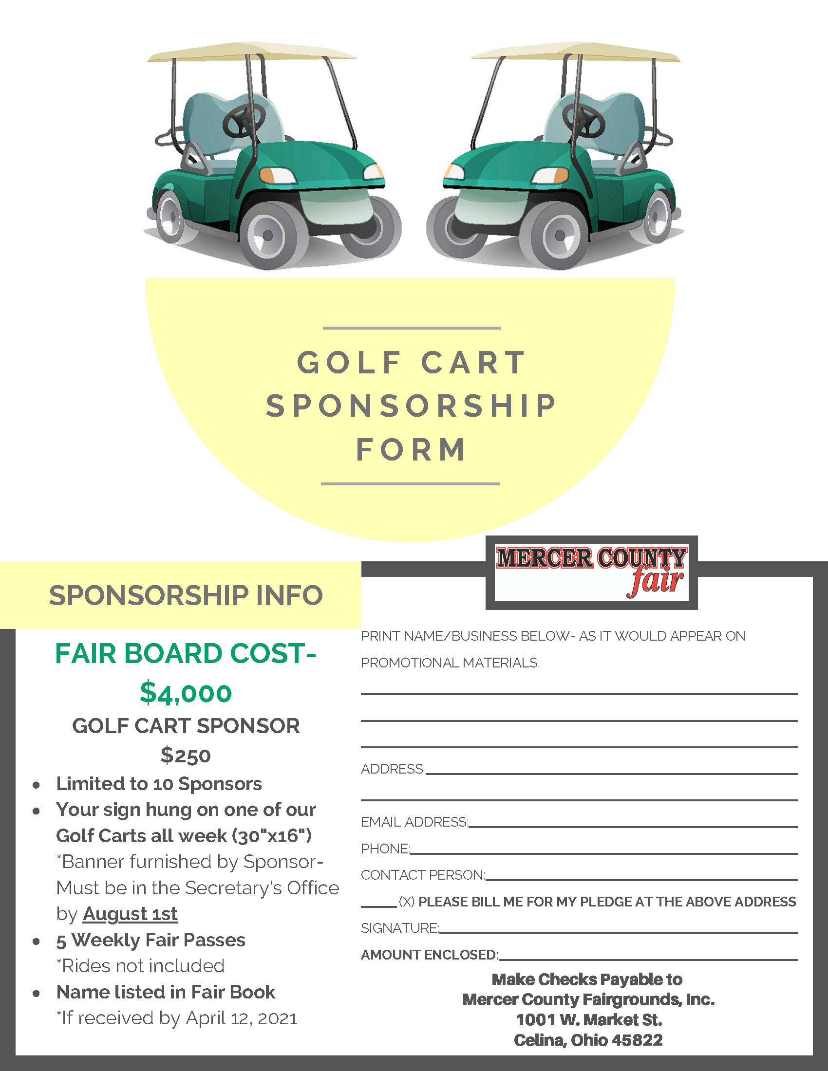 Golf Cart Sponsorship Form