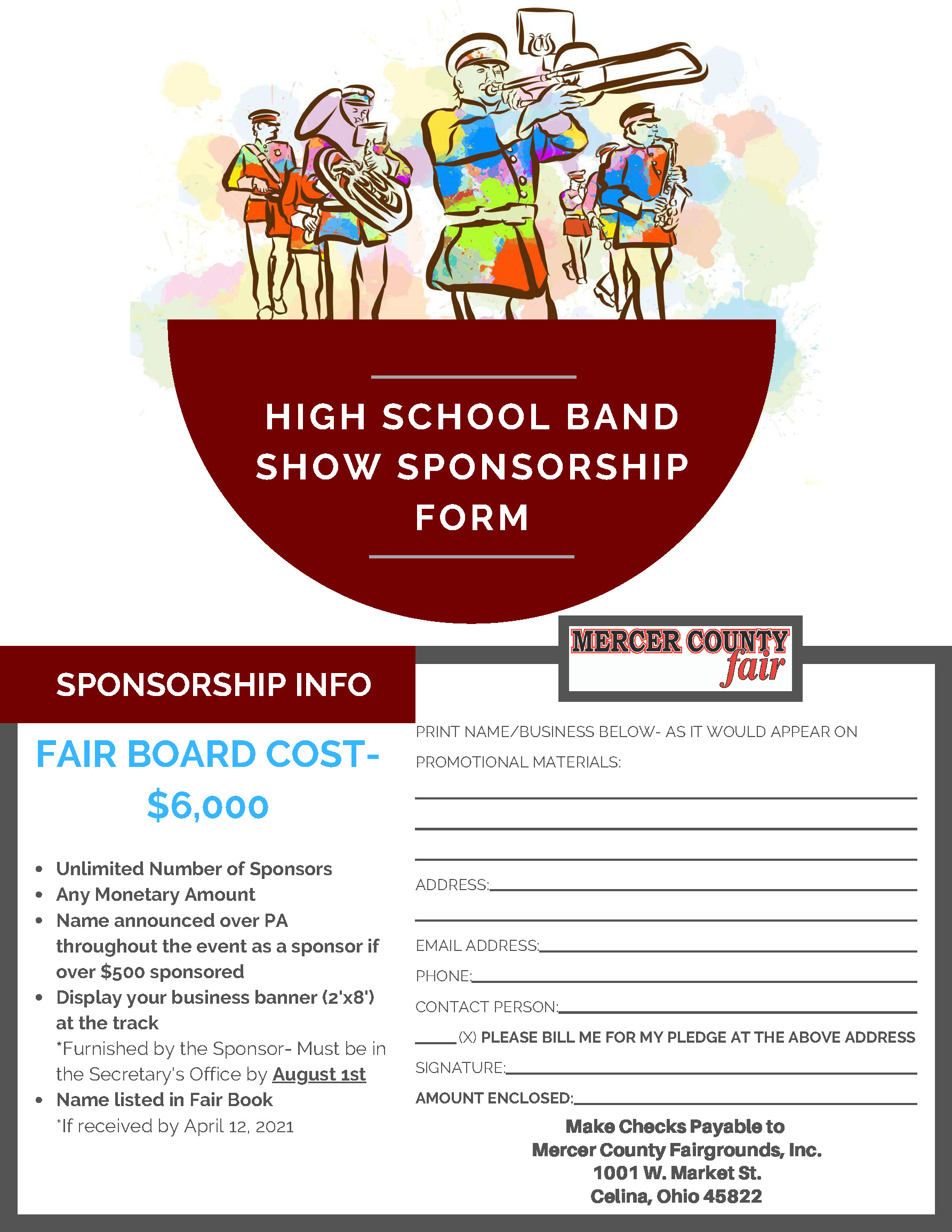 High School Band Show Sponsorship Form