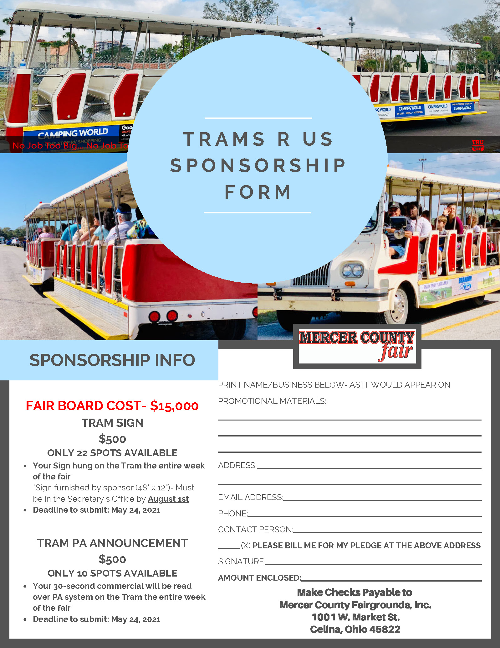 Trams R Us Sponsorship Form